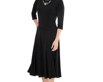 Black modest midi dress - Dress with small bow - Dress with sleeves - Dress on clearance