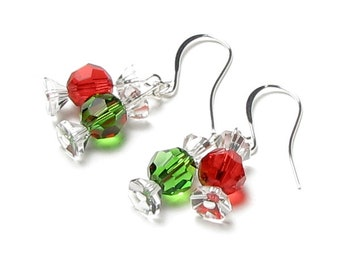 Christmas Candy Earrings, Red And Green, Swarovski Crystal, Wrapped Candy, Miniature Food, Silver Holiday Earrings, Holiday Gift For Women