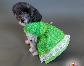 Green Dog Dress with Contrasting Prints, Double Layered Skirt and Metallic Ribbon