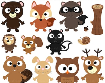 woodland clipart digital clip art owl hedgehog bird fox beaver skunk squirrel snail - Forest Friends Clipart