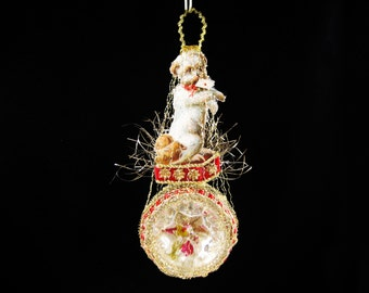 Victorian Christmas Ornament - The Little Letter Carrier || Victorian ornament, handmade, vintage, antique, dog, puppy