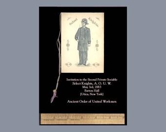 A O U W Ancient Order of United Workmen 1883 Fancy Dress Ball Invitation Utica New York Rare Historical Paper Ephemera