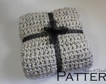 "Crochet Afghan Lap Size Throw PATTERN Chunky Aspen Tweed 38"" x 45""/(97 x 114) cm - PDF 3845"