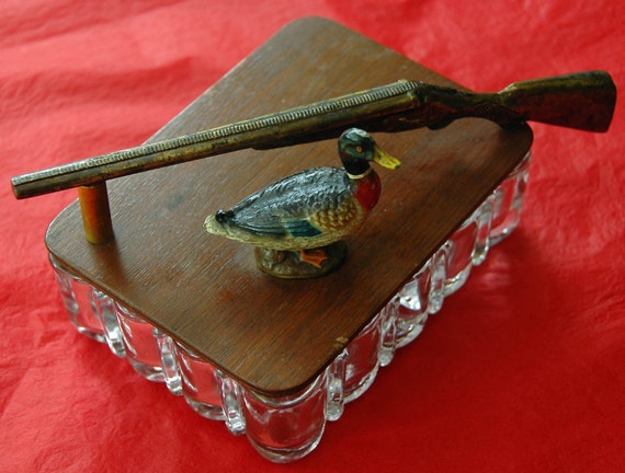 REDUCED Rare Vintage DUCK n RIFLE In Brass/Bronze On Wood Lid Glass Card, Trinket, or Cigarette Box In Original Found Very Good Condition