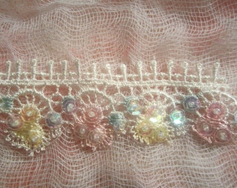Venice Lace Trim (Blue, White, Yellow, and Pink)