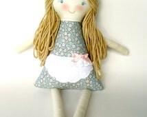 Personalized Rag Doll, Handmade Cloth Waldorf Doll, OOAK, Arabella