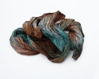 brown silk scarf Carribean Pirate - brown, grey, green, aqua silk ruffled scarf.
