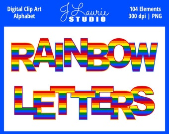 Digital Alphabet Letters Clipart-Rainbow Party Patterns-Pride-Alphas-Scrapbooking-Greeting Cards-Invitations-Instant Download Clip Art