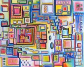 "Original Abstract Colorful Geometric Acrylic Painting - 11"" x 14"" on stretched canvas - Ready to hang"