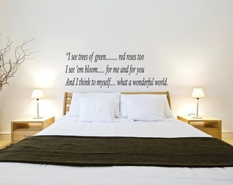Vinyl Wall Decal What A Wonderful World - Louis Armstrong Quote Stickers -  Home Decor Wall Decals  Office Stickers Removable