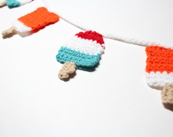 Crochet Garland, Popsicle Bunting, Summer Wall Hanging, Party Decoration, Kitchen Home Decor, Nursery Wall Decor