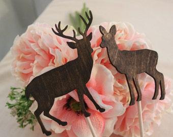Deer Cake Topper - Mr & Mrs Deer- Beach wedding - Bride and Groom - Rustic Country Chic Wedding