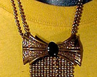 ART DECO Brass and Black Glass Bow Chain Fringe NECKLACE 1930