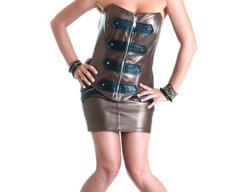Bronze and black eco leather bodice with studs corset top sparkle glitter - Handmade in Italy Limited Edition