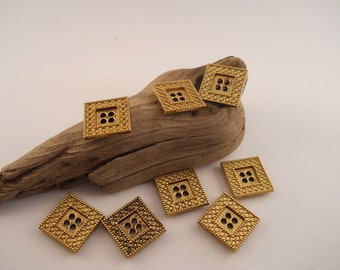 BUTTONS:  8 Square Brass Buttons, 3/4 inch, 4 hole