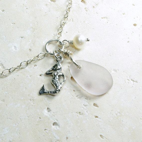 Sterling Silver Anklet - Eco-Friendly Genuine Sea Glass Jewelry - Lavender Mermaid Charm