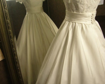 Custom Made Wedding Dress with Alencon French Lace Gathered Skirt Custom Made to your Measurements