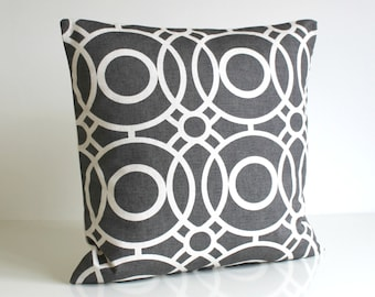 Dark grey Pillow Cover, Circle Cushion Cover, Circle Pillow Sham, cotton pillows, sofa pillow cover - Trellis Circles Charcoal