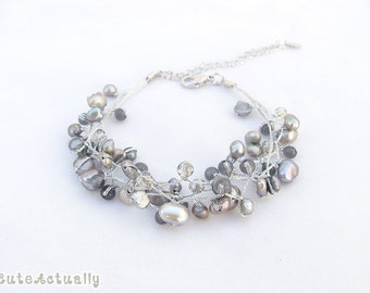 Silver gray freshwater pearl bracelet with stone, crystal on silk thread, gray pearl bracelet, bridesmaid bracelet