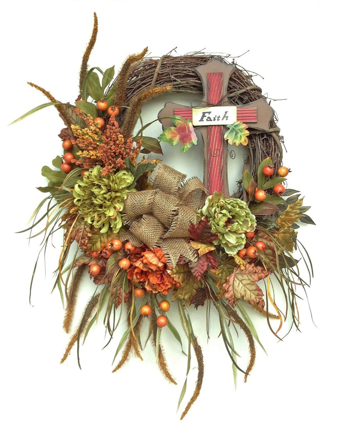 Xl fall wreath cross wreath fall decor fall wreaths for Fall autumn door wreaths