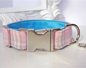 Baby Pink Plaid Dog Collar With Light Blue Lining - Spring Celebration