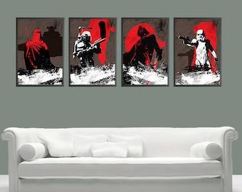 Vintage Star Wars Poster Set - Boba Fett, Stormtrooper, Darth Vader and Imperial Guard Posters - Set of 4 Posters