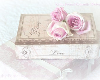 Roses Photography, Romantic Pink Roses Love Print, Shabby Chic Roses Decor, Dreamy Love Roses Wall Art, Romantic Roses, Books Photography