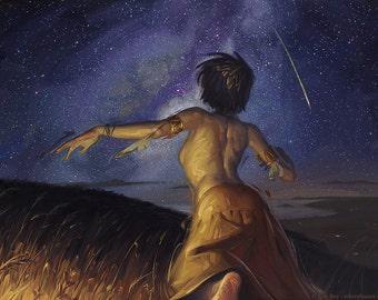 Falling Fire (Shooting Star) - Print of original oil painting illustration
