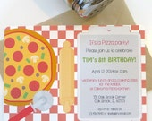 Pizza party invitation, children's birthday party, pizza themed birthday party, gender neutral birthday party, gender neutral invitation