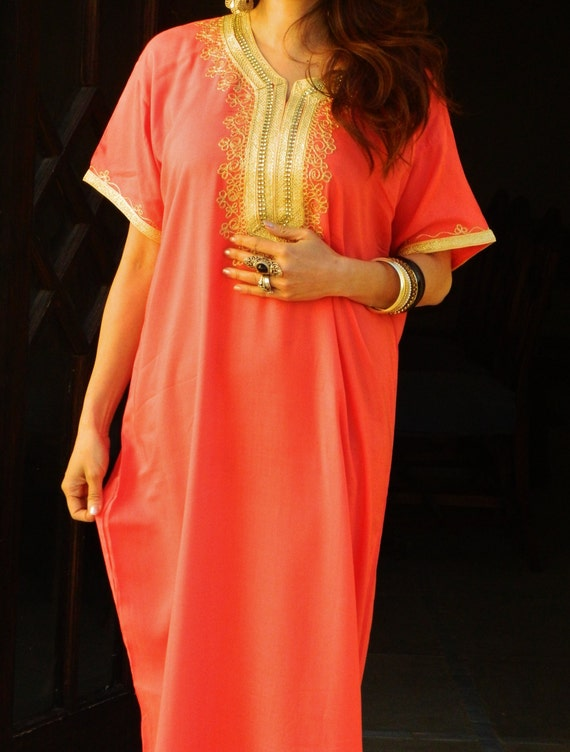Winter Trendy Boho Clothing Orange Resort Caftan Kaftan Fez-Winter, resortwear, maxi dresses, birthdays, honeymoon, maternity gifts
