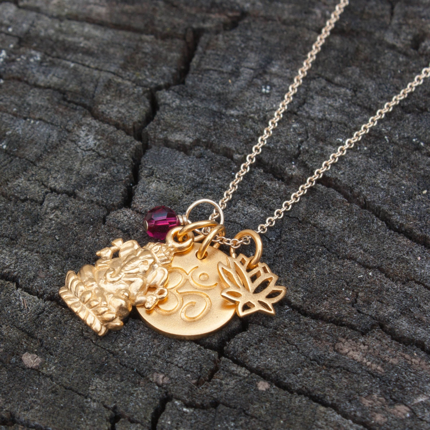 gold ganesha charm necklace yoga jewelry personalized. Black Bedroom Furniture Sets. Home Design Ideas