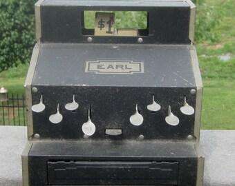 Vintage Earl Toy Tin Cash Register 1930 Era