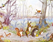 Vintage Postcard, Molly Brett, Medici Society, Catching the Bus, Dressed Animals, Paper Collectibles, Little Animals, Woodland Art