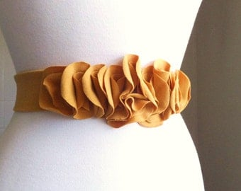 Mustard Sash Belt Flower Petal Autumn Dress Accessory embellished floral bridesmaid sash cotton jersey casual wedding party - Made to order