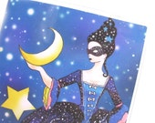 Passport Cover - Queen of Night - passport holder - stars and moon night sky - fits US passports - constellations - beesocks