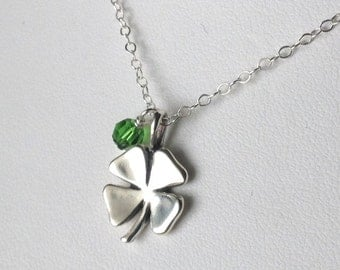 Four Leaf Clover sterling silver lucky charm necklace good luck pendant crystal dangle