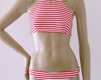 High Neck Halter Bikini Top and Full Coverage Bikini Bottom Two Piece Swimsuit in Red and White Candy Stripe in S.M.L.XL