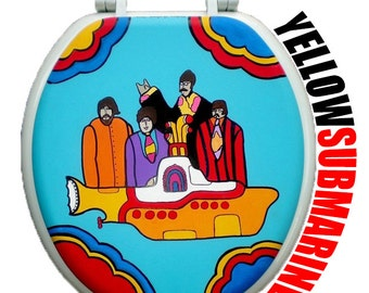 Yellow Submarine Hand Painted Toilet Seat Beatles Bathroom Wall Decor Art Remodel Dad Grad Gift Rock Musician