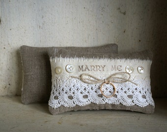 Engagement Ring Pillow Vintage Lace and Irish Linen -- Handmade in Ireland