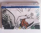 Hawkman Zipper Pouch Coin Purse Case -  DC Comics -  Super Friends Vintage - White Blue Orange