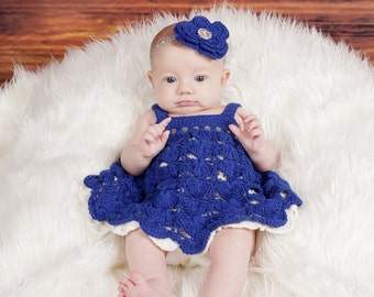 Little Starlet - Crochet Pattern Sundress and Headband, Sizes NB - 3T