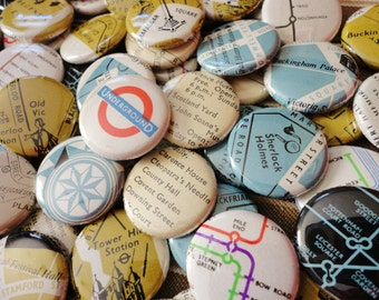 Unique Handmade Wedding Favors - London Lovers -100 One Inch Pinback Buttons