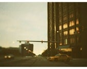 Photography - Detroit - City Photograph - Landscape Photograph -  Fine Art Photograph - Taxi Cab - Travel - Street Lights