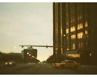 Photography - Detroit - City Photograph - Landscape Photograph -  Fine Art Photograph - Taxi Cab - Travel - Street Lights