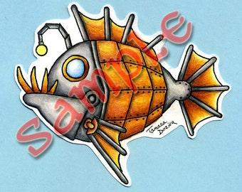 Digital Stamp Steampunk fish digi TDozier