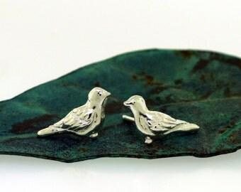 Bird Earrings - sterling silver post earrings, silver stud earrings by Kathryn Riechert