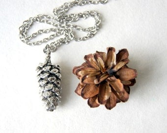 Silver Pine Cone Necklace - Pine Cone Necklace - Pinecone pendant - large anitqued silver pine cone necklace- Woodland Necklace