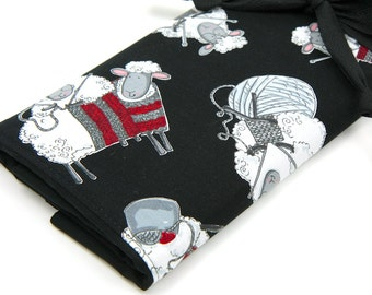 Large Knitting Needle Case - Black Sheep - black pockets for circular, straight, dpn