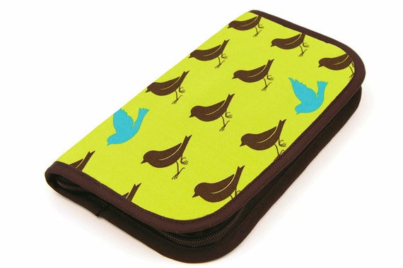 Travel Zip Around Knitting Needle Case  - Sparrow on Leaf Green - brown pockets