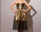 Run Baby Run Dress- Silk Metallic and Leather Bustier Dress